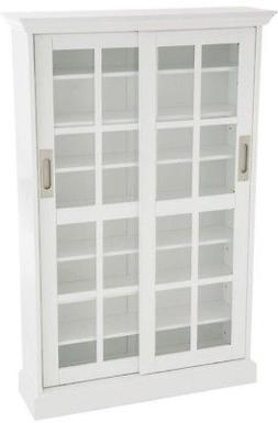 Media Storage Cabinet With Doors White DVD/CD Tall Bookcase