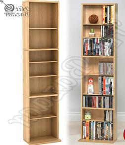 MEDIA STORAGE RACK CD DVD Multimedia Organizer Tower Shelf S
