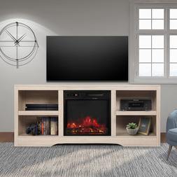 Media Storage TV Stand with Electric Fireplace for TVs up to