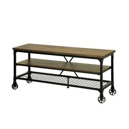 Metal Wood Industrial 54-Inch TV Stand With Two Bottom Shelv