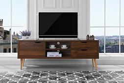Sofamania Mid-Century Style TV Stand, Living Room Entertainm