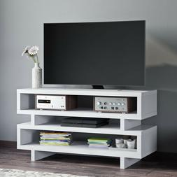 Mid Century Modern TV Console Stand Shelves Retro Open Shelf