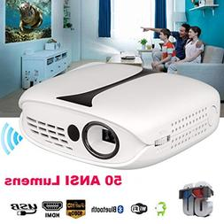 1080P Full HD Mini LED Projector, 3D Home Theater Cinema, Wi