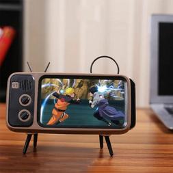 Mini Speaker Retro TV Mobile Phone Screen Stand Holder Porta