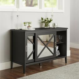 Mirrored 55 Inch Tv Stand Entertainment Console Buffet Door