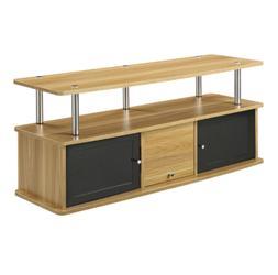 Modern 50 Inch TV Stand Light Oak Wood Finish Black Accent/S