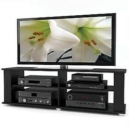Modern Black TV Stand - Fits up to 68-inch TV, Adjustable Sh