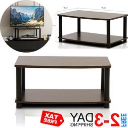 Modern Brown Coffee Table Small Wood Storage TV Stand Living
