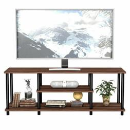 Modern Coffee 3-Tier TV Stand Entertainment Media Center Con
