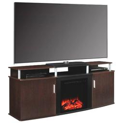 Modern Electric Fireplace TV Stand Cherry/Black Wood Finish