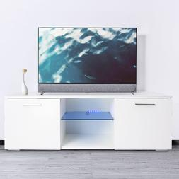 Modern High Gloss TV Stand Unit LED Light Console Cabinet w/