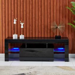 Modern High Gloss TV Unit Cabinet Stand with LED Lights Shel