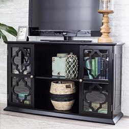 Modern Moroccan Black Quatrefoil TV Stand Media Cabinet with