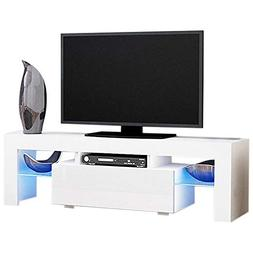 Modern TV Stand with Drawers High Gloss White LED TV Stand C