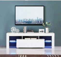 Modern TV Stand w/ LED Light Wood Media Storage Console Cabi