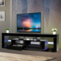 "63"" Modern TV Stand Colorful LED Light Media Storage Console"