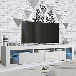 Homgrace Modern LED TV Unit Cabinet Stand with 2 Shelves, Du