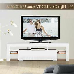 Modern White 63'' TV Stand Unit Cabinet w/ LED Light 2 Drawe