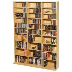 Multimedia Storage Cabinet Tower DVD CD Rack Shelf Organizer