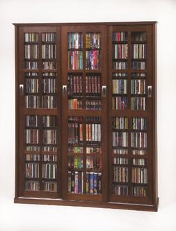 Multimedia Wall Cabinet w Three Sliding Doors w Glass Panes