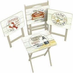 Nautical TV Tray Set with Stand - Set of 4