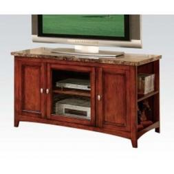 New Finely Cherry Wood TV Stand w/ Faux Marble Top