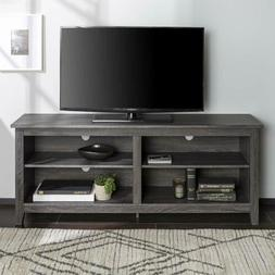 Gray Grey TV Stand Home Entertainment Center Storage Cabinet