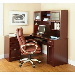 NEW L-Shaped Office DESK + HUTCH , Cherry, FREE Delivery