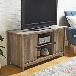New Rustic Washed Oak TV Stand Cabinet Media Center Wood 2 D