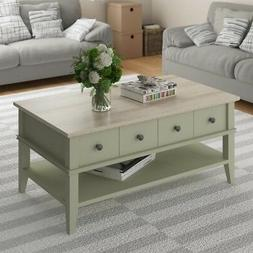 Ameriwood Home Newport Coffee Table in Light Sage and Light