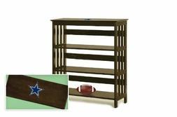 NFL Team Logo Decal on Espresso Finish Wood Bookshelf Sofa E