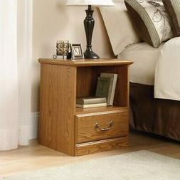 Night Stand with open storage and drawer, oak