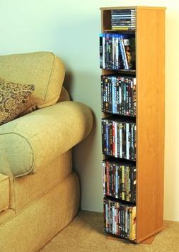 Oak Finish Revolving Multi-Media Storage Shelf in Oak Finish