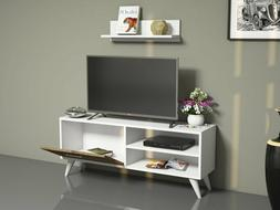 Party Tv Stand Media Console Entertainment Table Wood Cabine