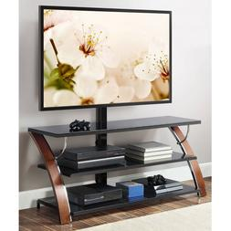 Whalen Payton Brown Cherry Wood 3 in 1 Flat Panel TV Stand T