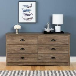 Prepac Salt Spring Drifted Gray 6-Drawer Dresser/TV Stand Dr