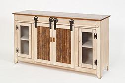 """Primitive Rustic Country 60"""" TV Stand with Sliding Doors-Ant"""