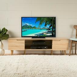 Reginald Mid-Century Modern TV Stand with Glass Shelf