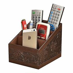 Remote Control Organizer Caddy PU Leather Storage Holder TV