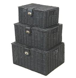Arpan Set of 3 Resin Woven Utility Storage Basket Box With L