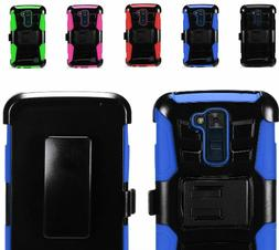 Rugged Side Stand Case Cover w/Holster Belt Clip For LG K10/