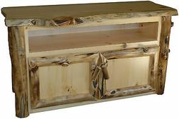 Rustic Aspen Log TV Stand - Amish Made in the USA