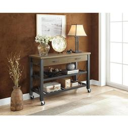 Rustic Kitchen Trolley Dining Room Serving Cart Portable TV
