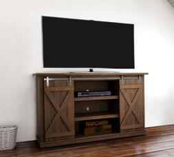 Rustic TV Stand 60 Inch Entertainment Center Sliding Barn Do