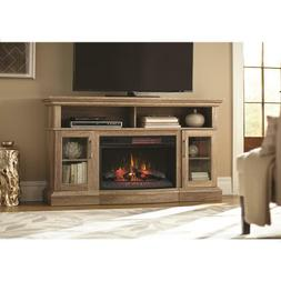 Rustic TV Stand Electric Fire Place Glass Door Entertainment