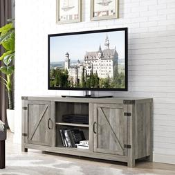 Rustic TV Stand Farmhouse Grey Barn Door Style Country Cotta