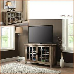 Rustic Wood Glass Tv Stand Weathered Storage Cabinet Shelves