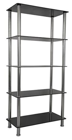 AVF S25-A Tall 5 Tier Shelving Unit in Black Glass & Chrome