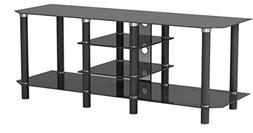 Ryan Rove Salerno 60 Inch Glass and Metal TV Stand in Black