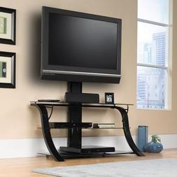 Sauder Studio Black Edge Panel TV Stand with Mount for TVs u